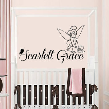 Fairy Girl Wall Decals Tinkerbell Personalized Name Grace Vinyl Decal Sticker Art Mural Interior Design Baby Kids Nursery Room Decor KG696