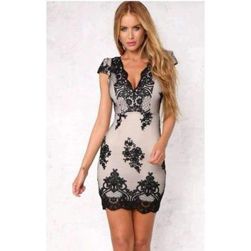 Black Lace Overlay V-Neck Dress