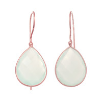 Pear Shaped Faceted Aqua Chalcedony Earrings Set In Rose Gold Plated Sterling Silver