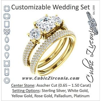 CZ Wedding Set, featuring The Zuleyma engagement ring (Customizable Enhanced 3-stone Asscher Cut Design with Triple Pavé Band)