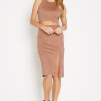 Hide Hopes Faux-Suede Pencil Skirt