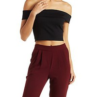 OFF-THE-SHOULDER PONTE KNIT CROP TOP