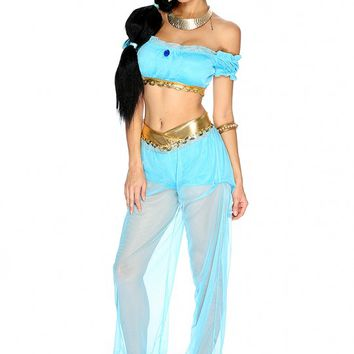 Sexy Turquoise Princess J Sequin 3. Piece Halloween Costume