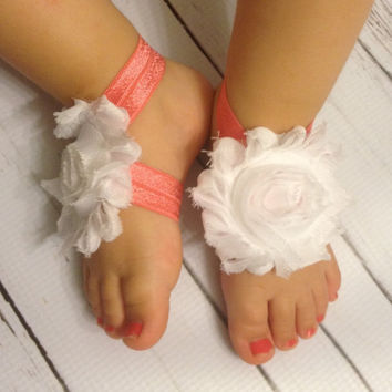 Baby Barefoot Sandals..Coral White Barefoot Sandals...