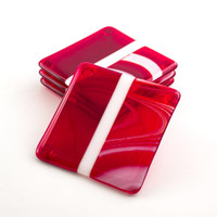 Red and White Fused Glass Coasters, Set of 4, Drink Coasters, Red Home Decor, Bar Accessories, Table Decorations, Unique Gifts for Men