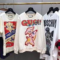 """Gucci"" Women Fashion Cute Cartoon Pig Letter Long Sleeve Sweater Casual Tops"
