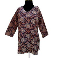 Handmade Block Printed Cotton Top With Sequins From India (Free Shipping) LLtop0131r