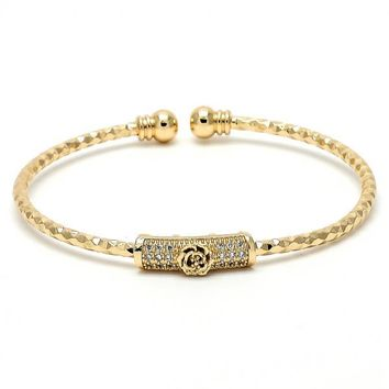 Gold Layered 07.193.0009 Individual Bangle, Flower and Ball Design, with White Micro Pave, Diamond Cutting Finish, Golden Tone (03 MM Thickness, One size fits all)