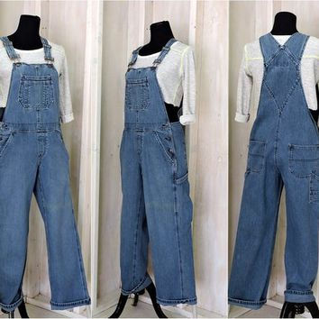 Overalls / size M / 90s grunge / womens / medium wash / denim bib overalls / wide leg / Vintage Old Navy