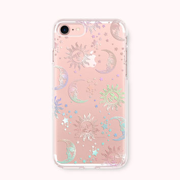 Clear iPhone 7 Case, iPhone 7 Plus Case, iPhone 6/6S Case, iPhone 6/6S Plus Case, iPhone 5/5S/SE Case, Galaxy S7 Case -Sun and Moon