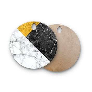 "KESS Original ""Geo Marble and Gold"" Digital Geometric Round Wooden Cutting Board"