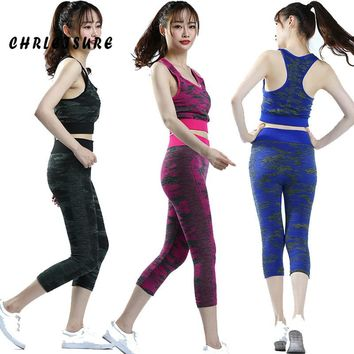 Camouflage Patchwork Sleeveless Tanks High Waist Push Up Leggings Two-piece Sets