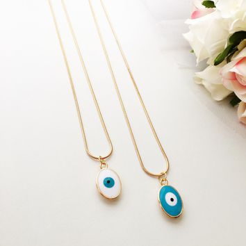 Tiny evil eye necklace, evil eye jewelry, 22K gold plated necklace, turquoise oval evil eye