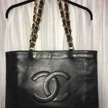 100% AUTHENTIC VINTAGE CHANEL LAMBSKIN TOTE BAG