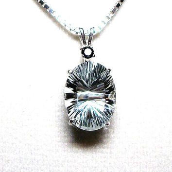 "Topaz, white topaz , topaz pendant, white wedding, black and white, anniversary, 18 sterling silver   ""White Hot"""