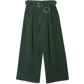Corrugated Round Buckle Belted Pants