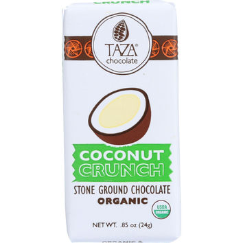 Taza Chocolate Bar - Organic - Tazitos Minibars - Stone Ground Chocolate - 65 Percent Dark - Coconut Crunch - .85 Oz - Case Of 20