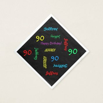 90th Birthday Party Repeating Names Black Paper Paper Napkin