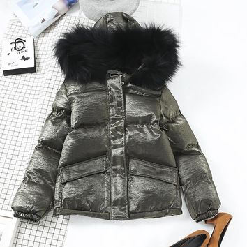2018 thick warm winter cotton warm coats bright silk fashion hooded fur collar coat jacket female lurex color warm cap warm coat
