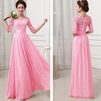 Party Dress 2016 Ladies Dress Sexy Lace Fit And Flare Half Sleeve Floor Length Special Occasion Chiffon Elegant Maxi Dress