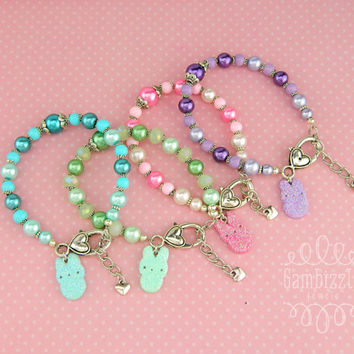 Peep bracelet, Easter bracelet, peep party favors, peep charms, peep jewelry