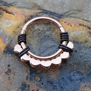 Rose Gold Lotus Daith Hoop Ring Rook Hoop Cartilage Helix
