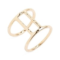 Junior Women's Girly Hammered Double Bar Ring - Gold