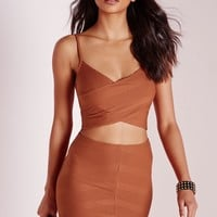 Missguided - Wrap Front Mini Rib Crop Rust