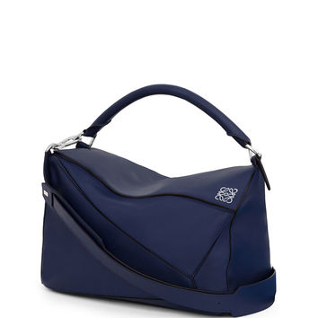 Puzzle Large Leather Bag, Navy - Loewe