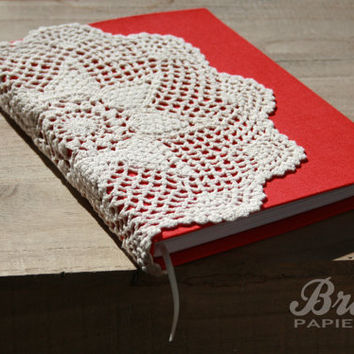 Unique Red Crochet Journal * Wedding Album * Bride Diary * Romantic Journal * Guest Book * Red Notebook * Wedding Book * Bridal * Love