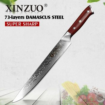 XINZUO 10'' Slicing Knife Damascus Kitchen Knives Japanese vg10 Steel Cleaver Carving Sushi Cooking Tools with Rosewood Handle