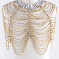 Gold Swarovski Austrian Crystal Tiered Body Chain Necklace & Earrings SET