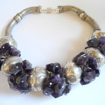 Purple amethyst necklace, handmade beaded semi precious gemstone choker necklace of amethyst and Thai silver finished with a magnetic clasp.