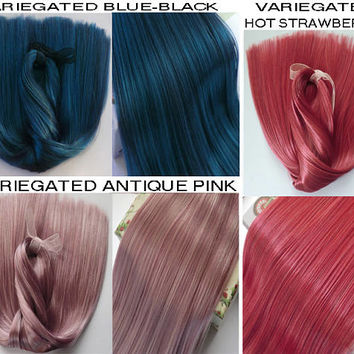 "Doll Hair-V. Violet-Pink-Blue-Black 16-18""-Bjd wig-Monster High-Msd-Sd-Blythe-suri alpaca-mohair-Minifee-Pullip-Ever After High-Dollfie-weft"