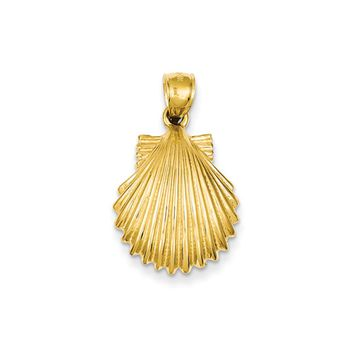 14k Yellow Gold Polished Scallop Shell Pendant, 25mm