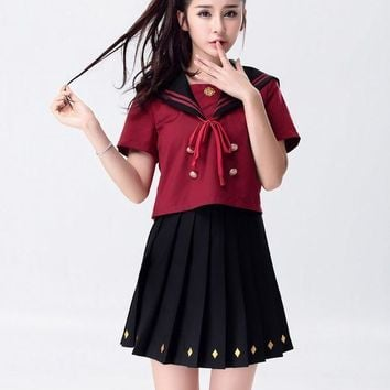 ESBON MOONIGHT Women Sexy School Girls Costumes British Style Miniskirt Flirty Women Clothing Student Uniform Top+Skirt