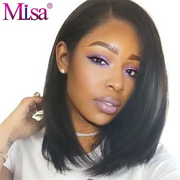 "Mi Lisa Full Lace Frontal Wig Short Human Hair Wig Straight Hair Pre Plucked With Baby Hair 10""-14"" Inche Remy Brazilian Bob Wig"