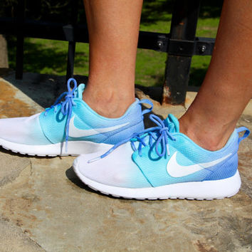 Blue Ombre Nike Roshe Runs from strangesshoes on Etsy  6f69cf3a83a5