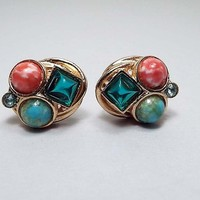Vintage Screw Back Earrings, Gold Tone Multi Color with Glass Cabs, Mid Century 1960s 60s