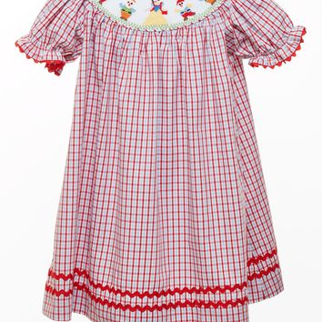 Three Sisters Smocked Baby Girl Dress with Princess & Helpers