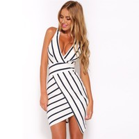 Fashion Bodycon Deep V-Neck Backless Hollow Sleeveless Irregular Stripe Mini Dress