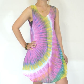 Thai Women Mini Dress, Purple pink green yellow and white Tie dye dress, Beach wear, Vintage Tie Dye Mini Dress, one size, Rayon material.