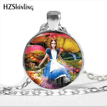 NS-00775 New Fashion Alice in Wonderland Necklace Handmade Alice and Mad Hatter Rabbit Jewelry Glass Photo Cabochon Necklace HZ1