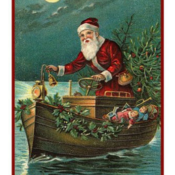 Victorian Father Christmas Boating Santa Delivering Presents Counted Cross Stitch or Counted Needlepoint Pattern
