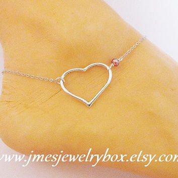 Silver heart anklet