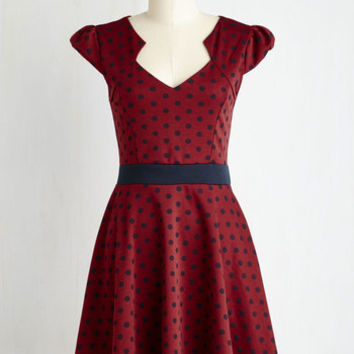 Mid-length Short Sleeves A-line The Story of Citrus Dress in Burgundy Dot