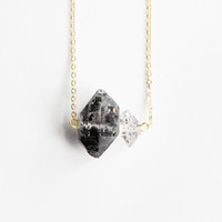 Sidekick Black Tibetan Double Terminated Quartz and Herkimer Necklace