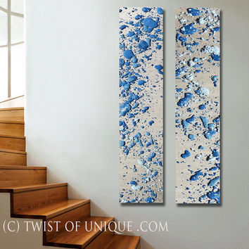 Melted Abstract Paintings, 2 panel CUSTOM (72 Inches x 15 Inches) Melted Metal Wall Art, - silver, metal, Blue, Turquoise