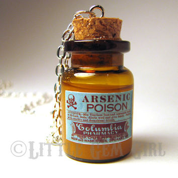 Arsenic Poison Large Glass Bottle Cork Necklace  by LittleGemGirl