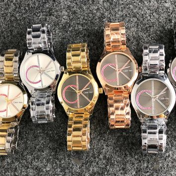 CK Watch Colorful Diamond Mark Calvin Klein Women Men Trending Watch Metal Watchband Full Color